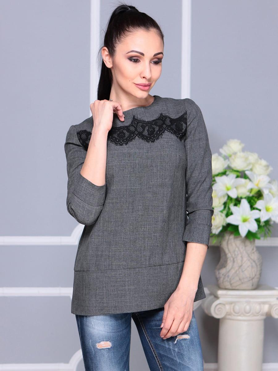 Блуза графитового цвета | 4222504 | фото 4