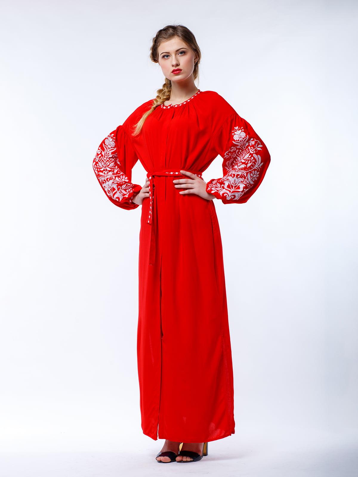 Сукня червона з вишивкою | 4235533