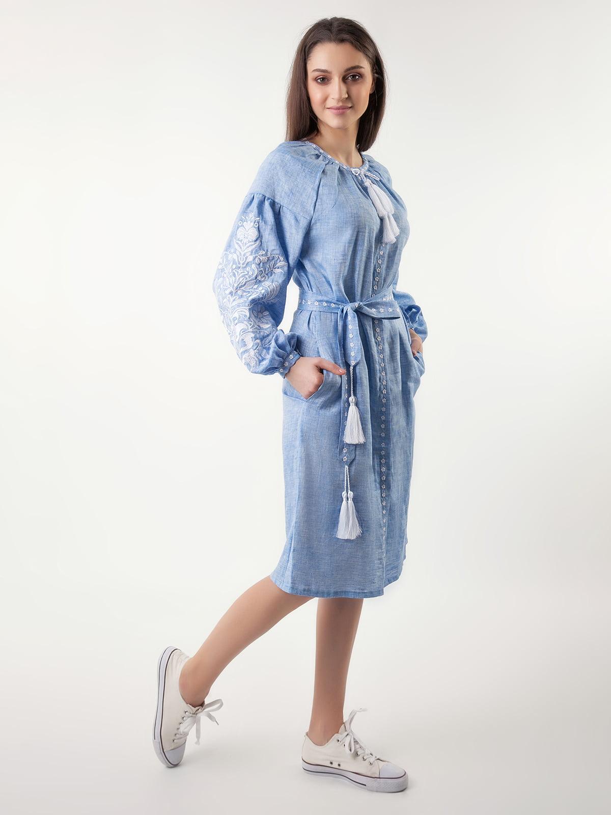 Сукня блакитна з вишивкою | 4235535