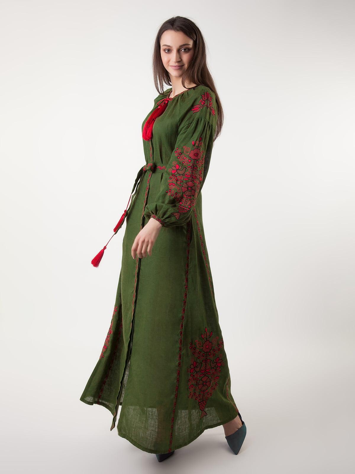 Сукня оливкового кольору з вишивкою   4235538