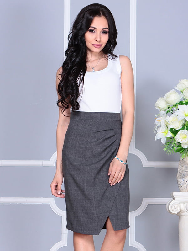 Платье бело-графитового цвета | 4238437 | фото 4