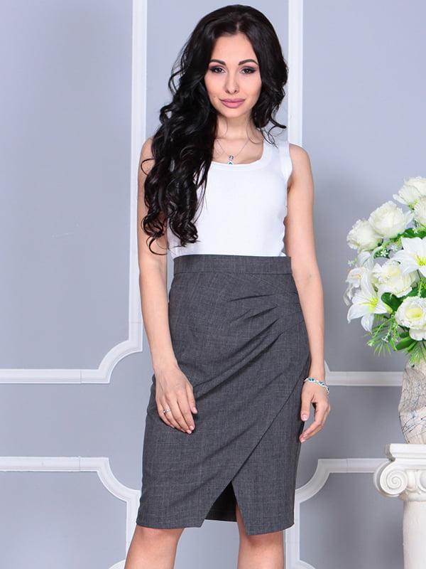 Платье бело-графитового цвета | 4238437 | фото 5