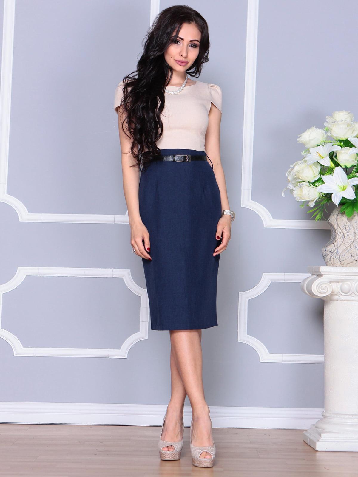 Платье бежево-синее   4238459