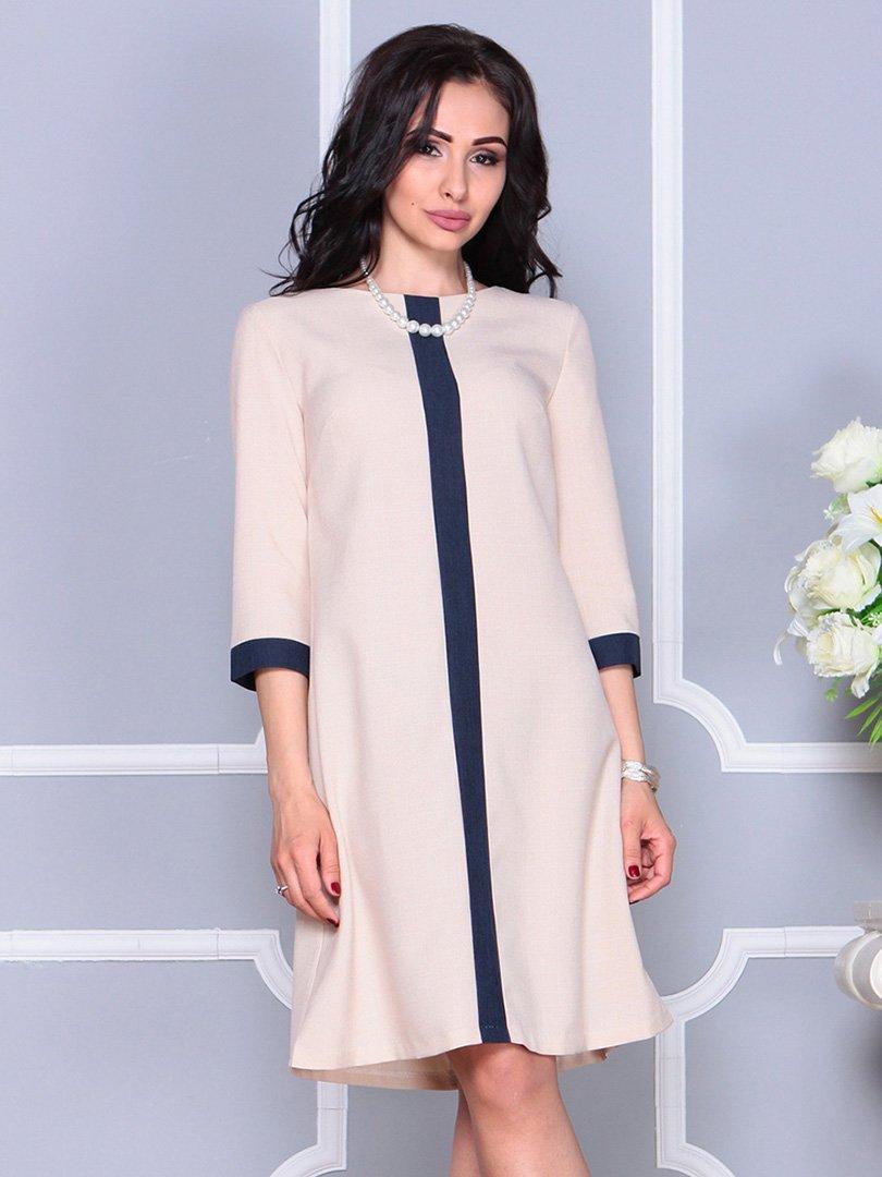 Платье бежево-синее   4246231