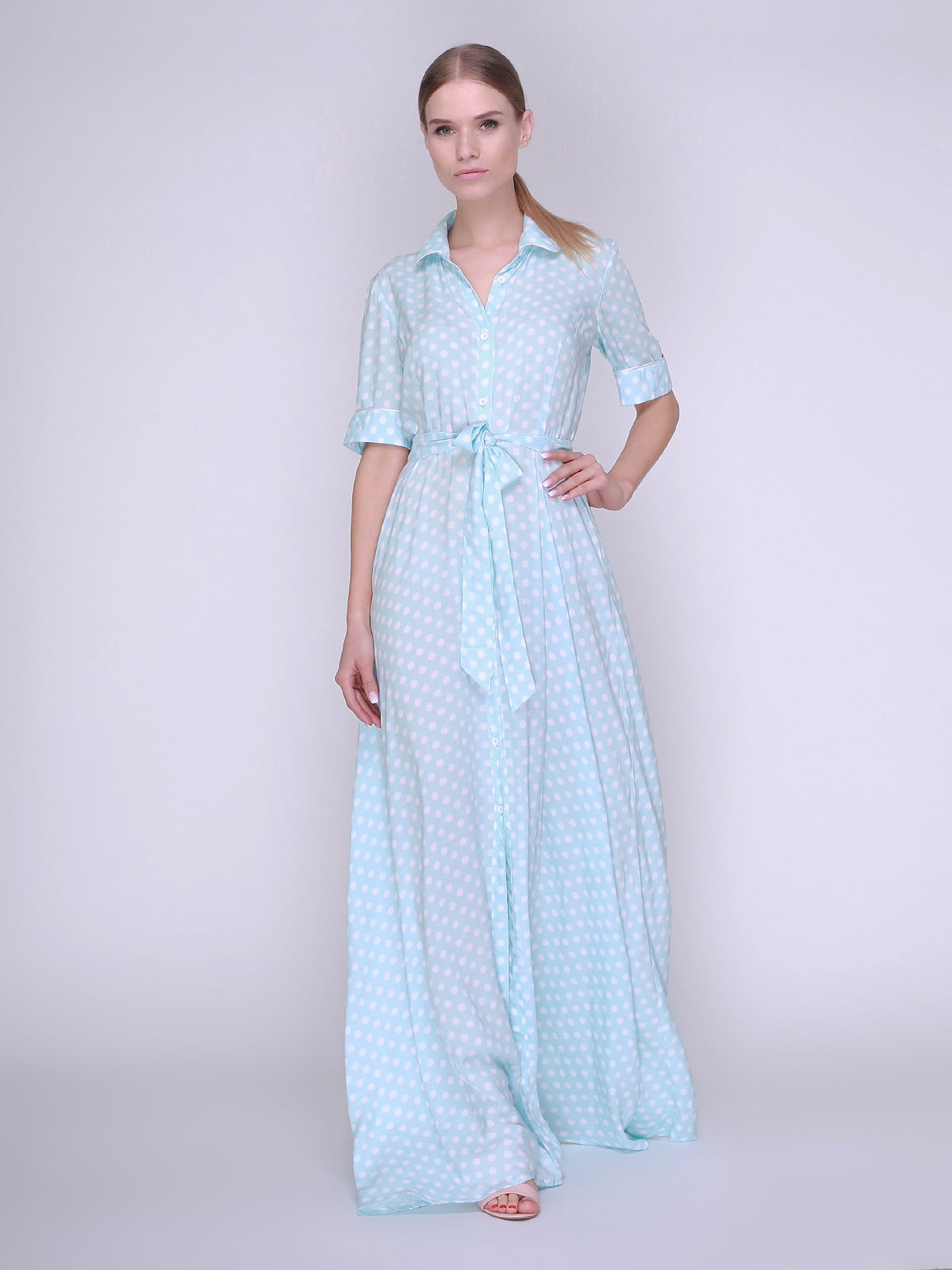 ac021c8878a Платье-рубашка голубое в горох — Karseka