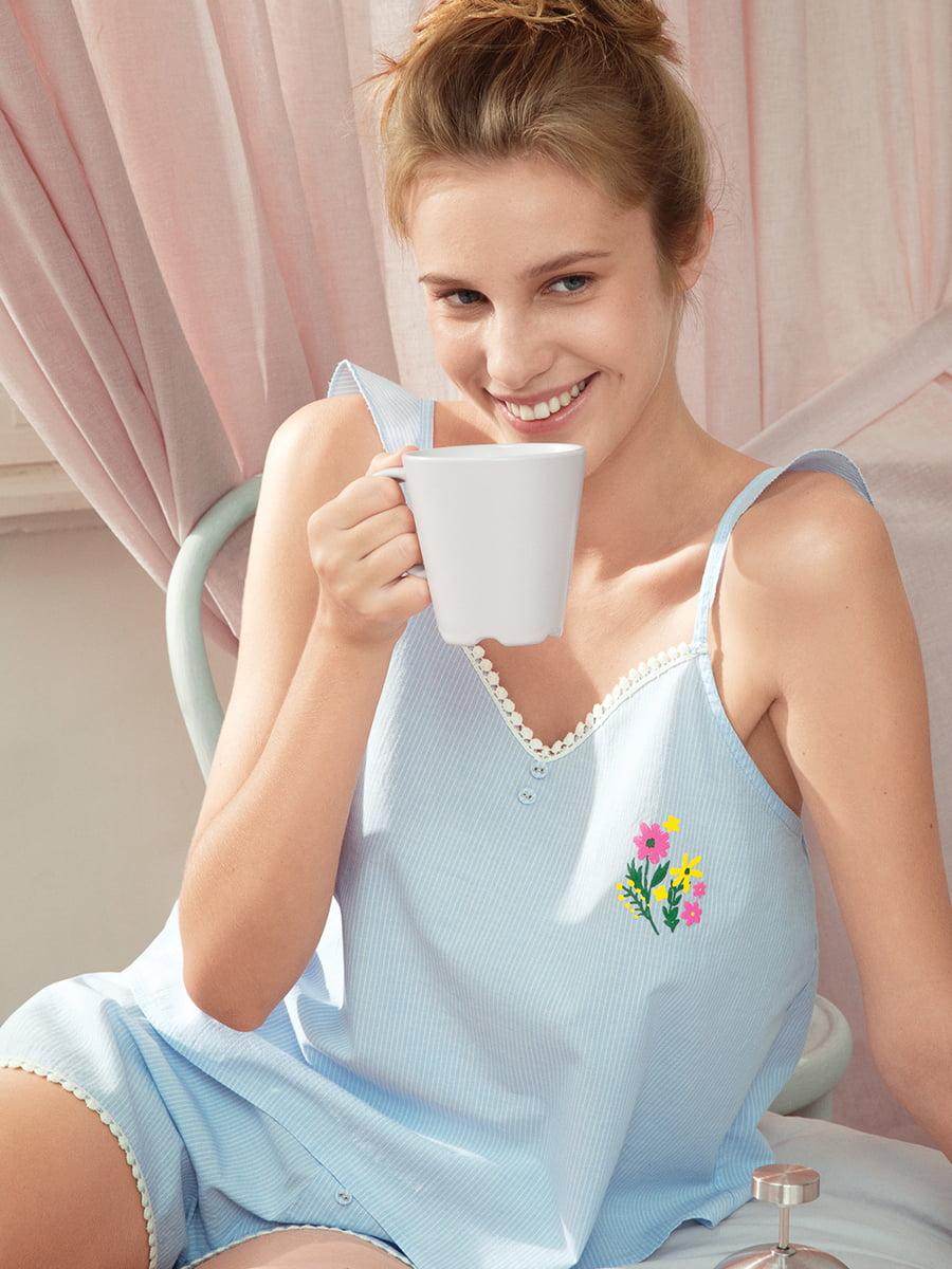 Майка голубая в полоску пижамная | 4215717