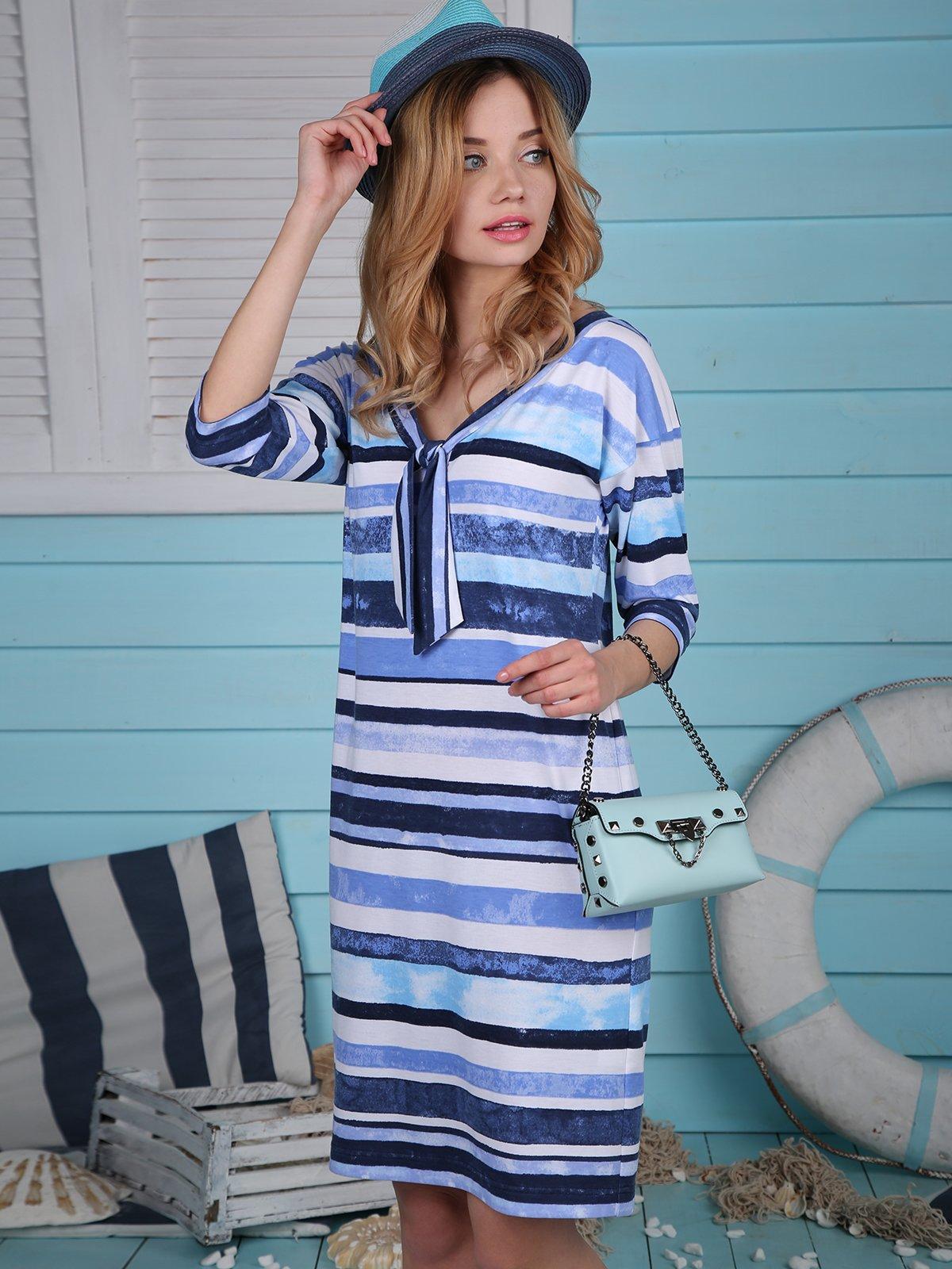 Платье синее в полоску   4248691