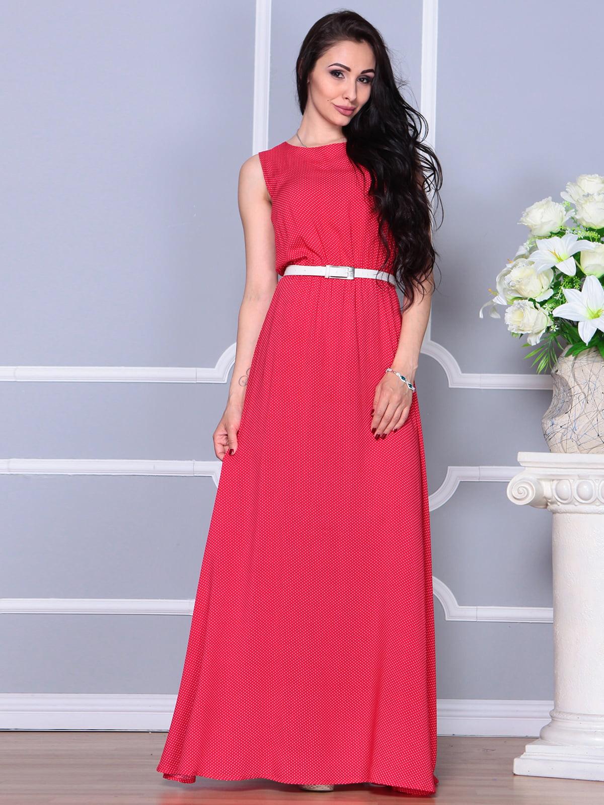 Платье цвета красный коралл в горох | 4255784