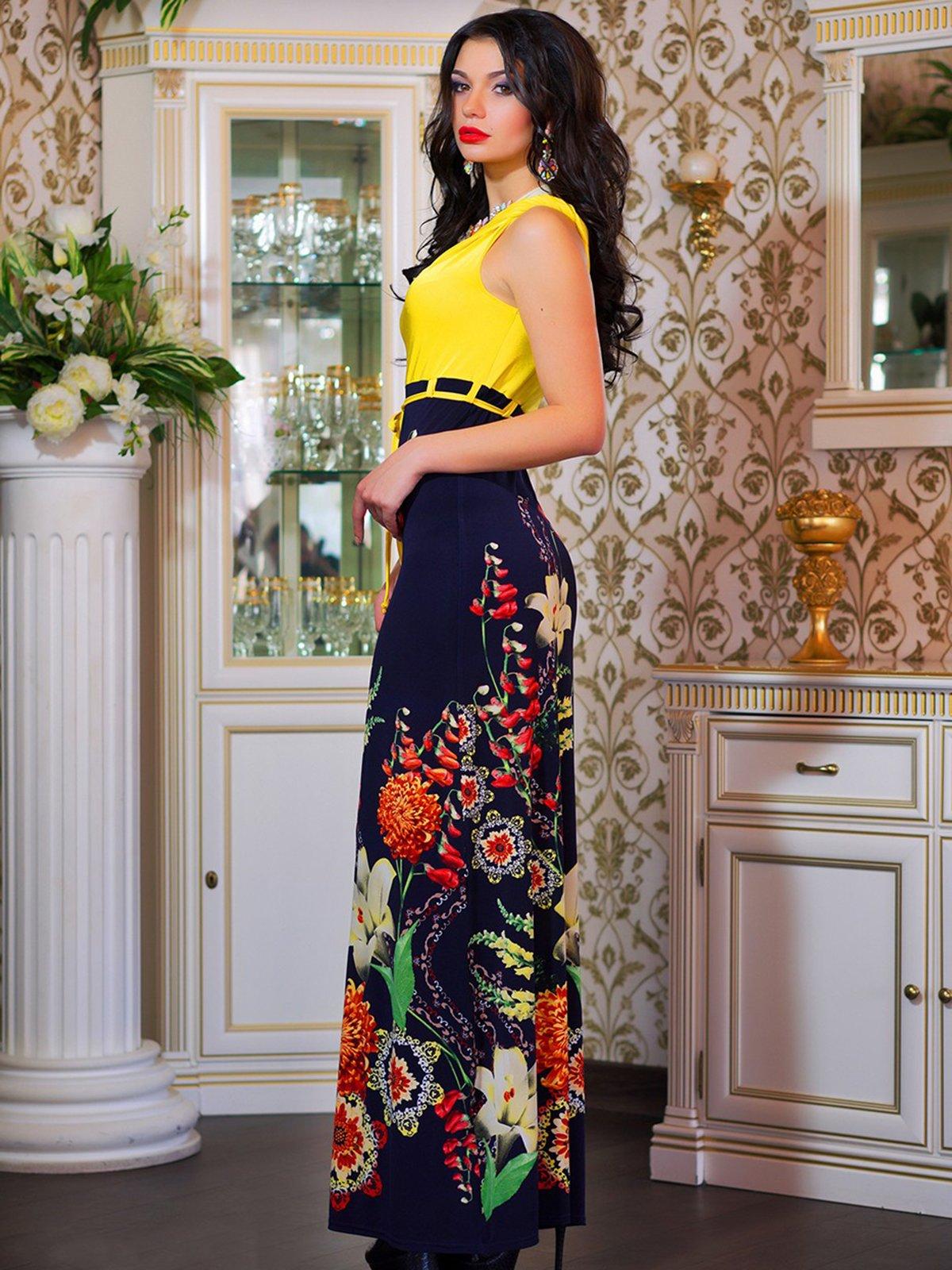 Сукня темно-синя в квітковий принт | 4262958 | фото 2