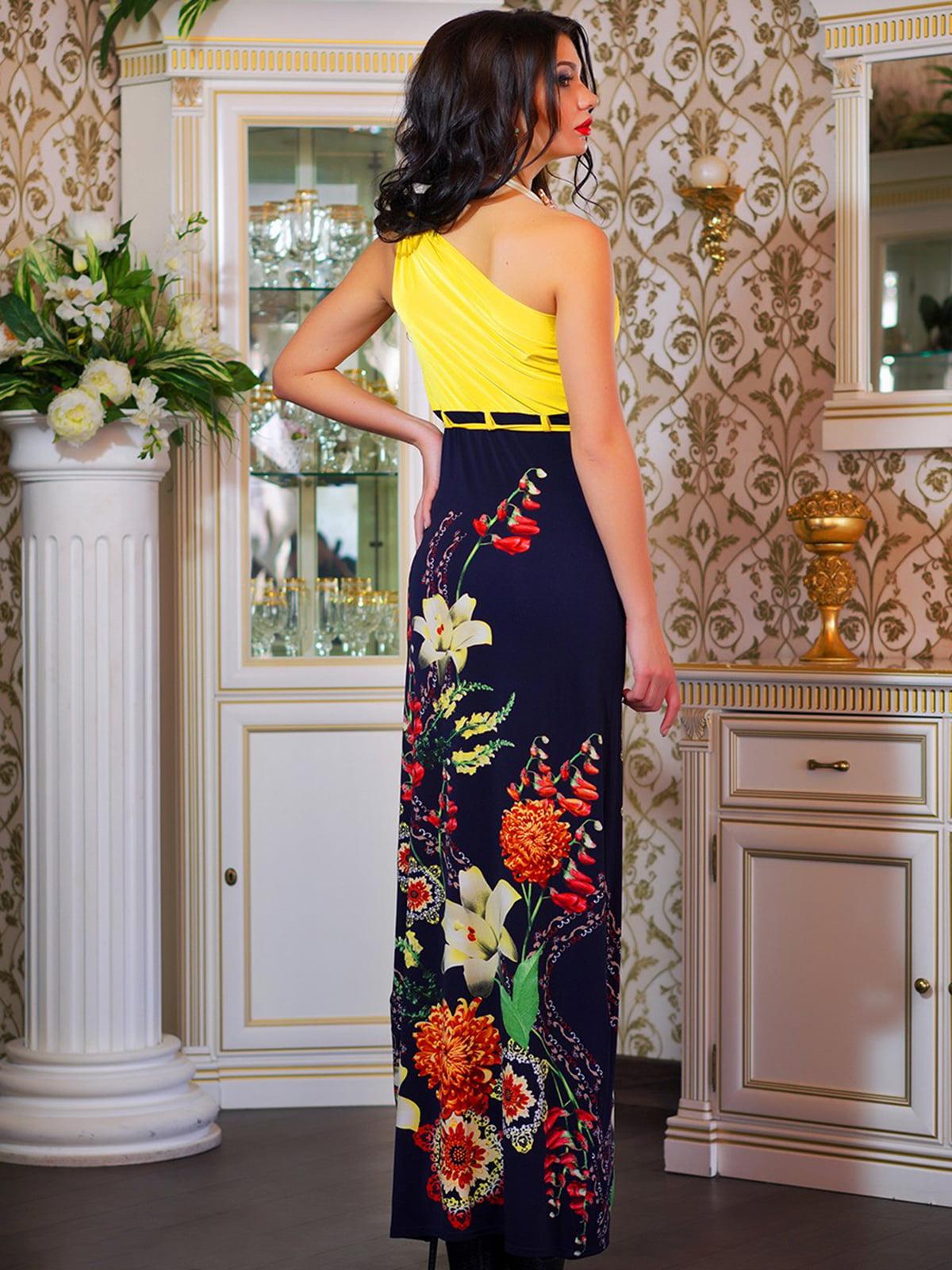 Сукня темно-синя в квітковий принт | 4262958 | фото 3