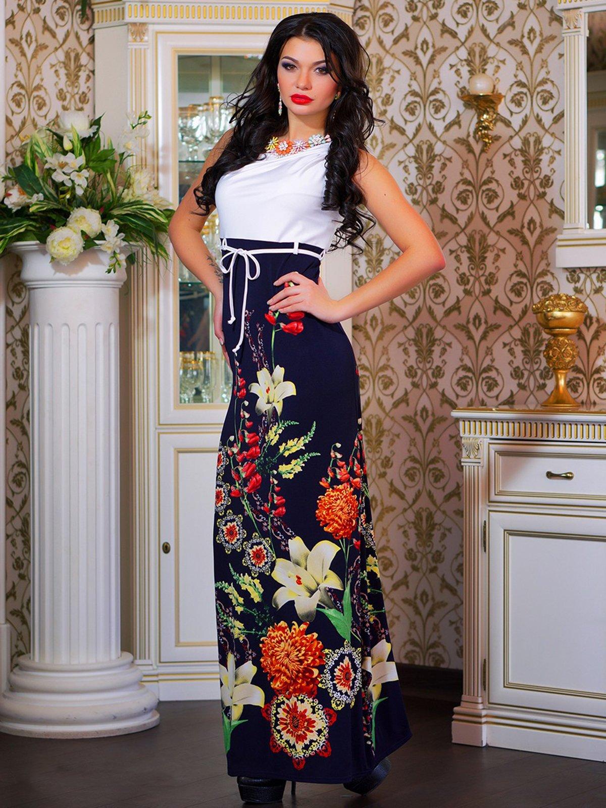 Сукня біла в квітковий принт | 4262960