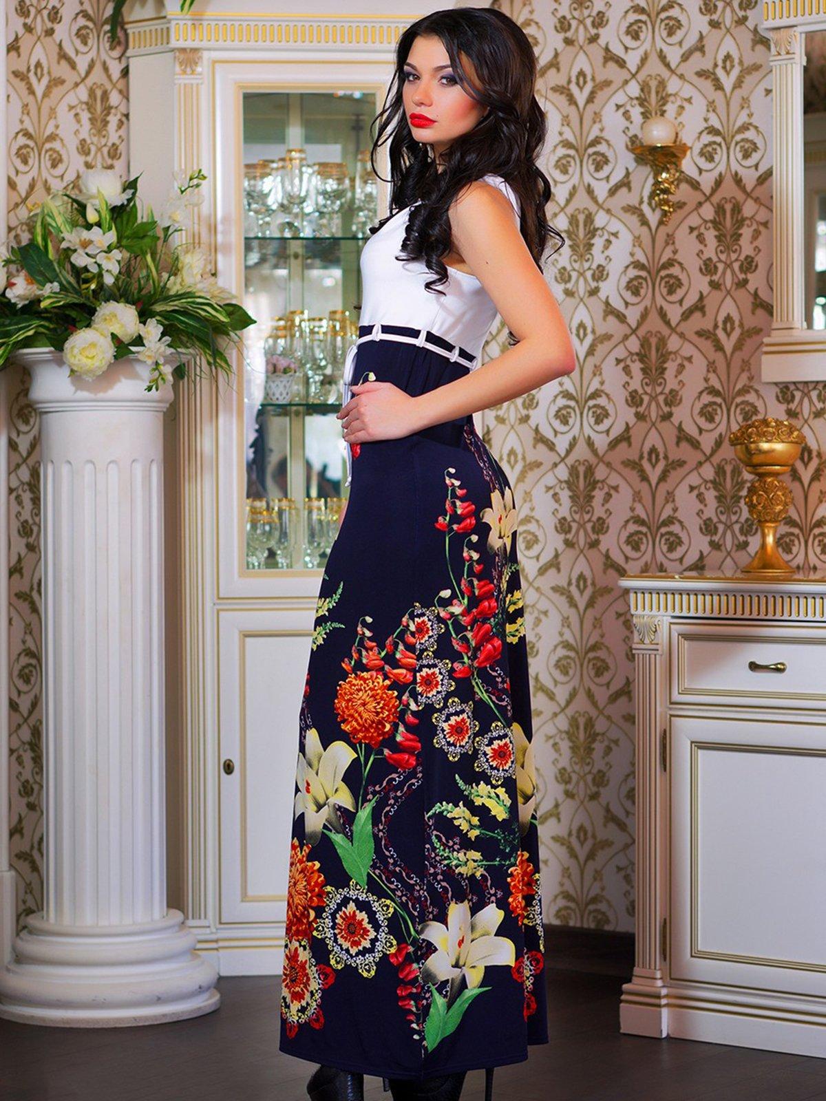 Сукня біла в квітковий принт | 4262960 | фото 2