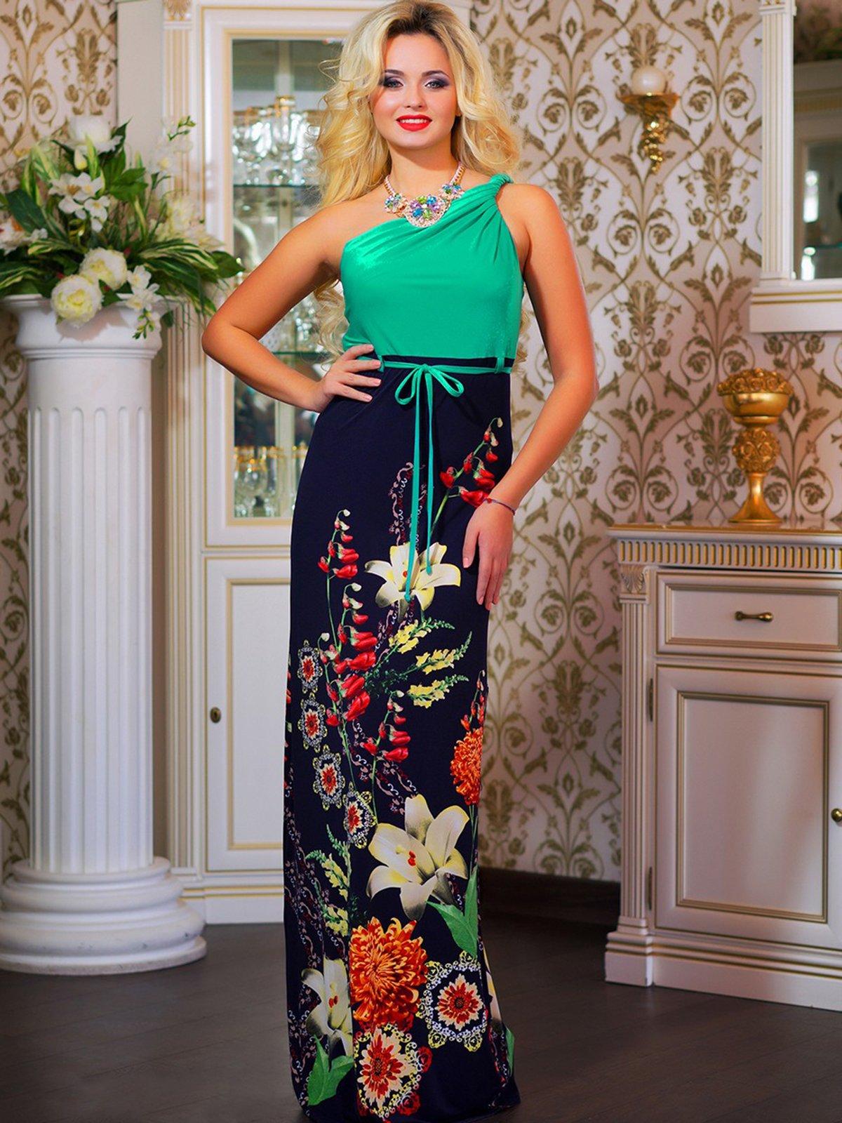 Платье зеленое в цветочный принт | 4262961