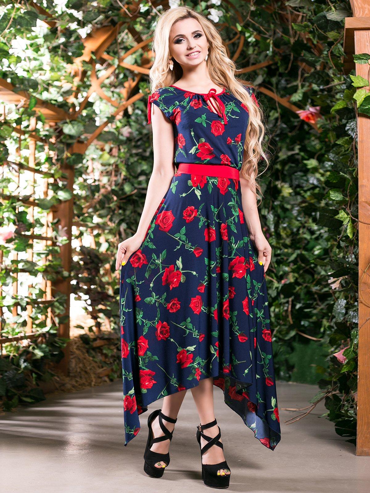 Сукня темно-синя в квітковий принт | 4262966