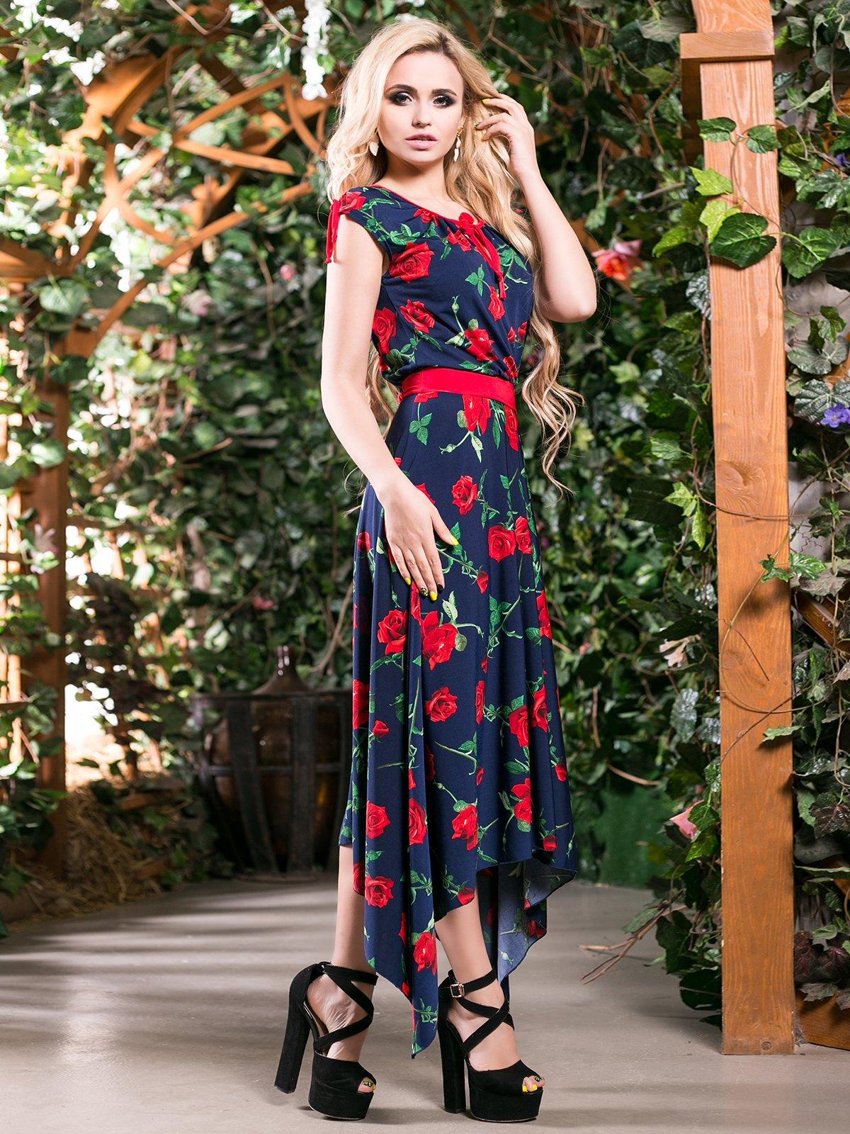 Сукня темно-синя в квітковий принт | 4262966 | фото 2