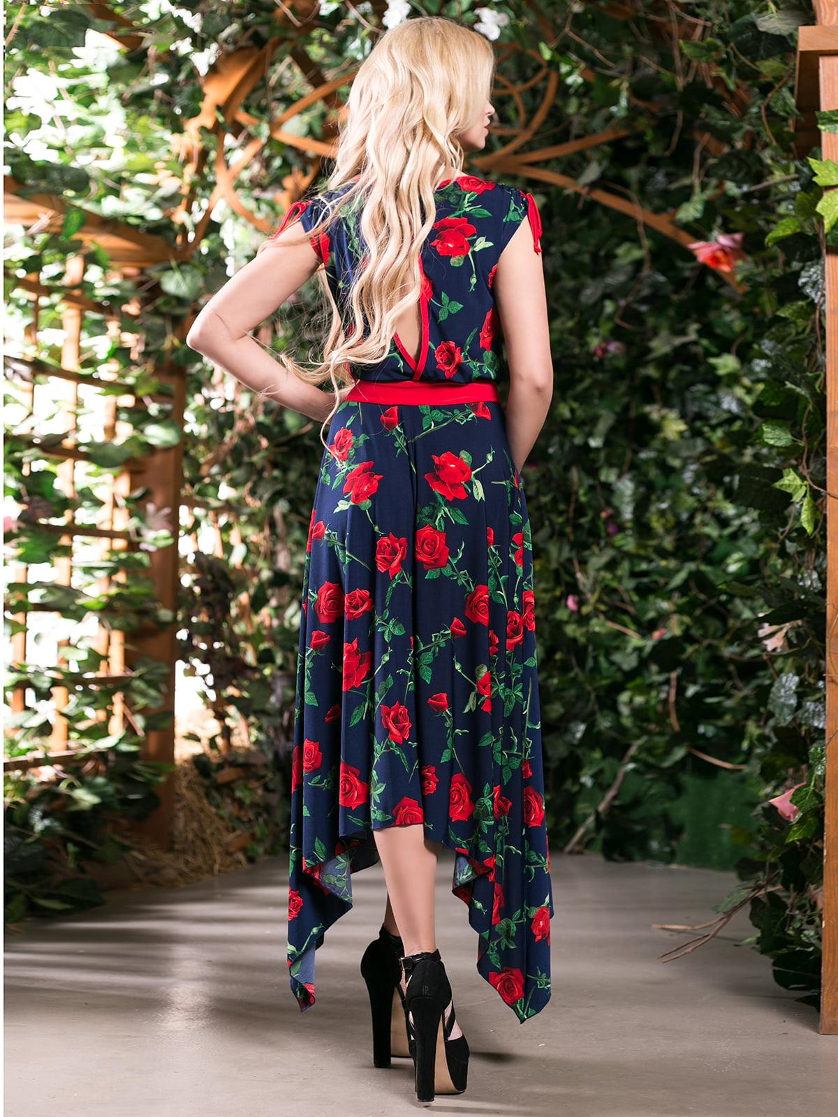 Сукня темно-синя в квітковий принт | 4262966 | фото 3