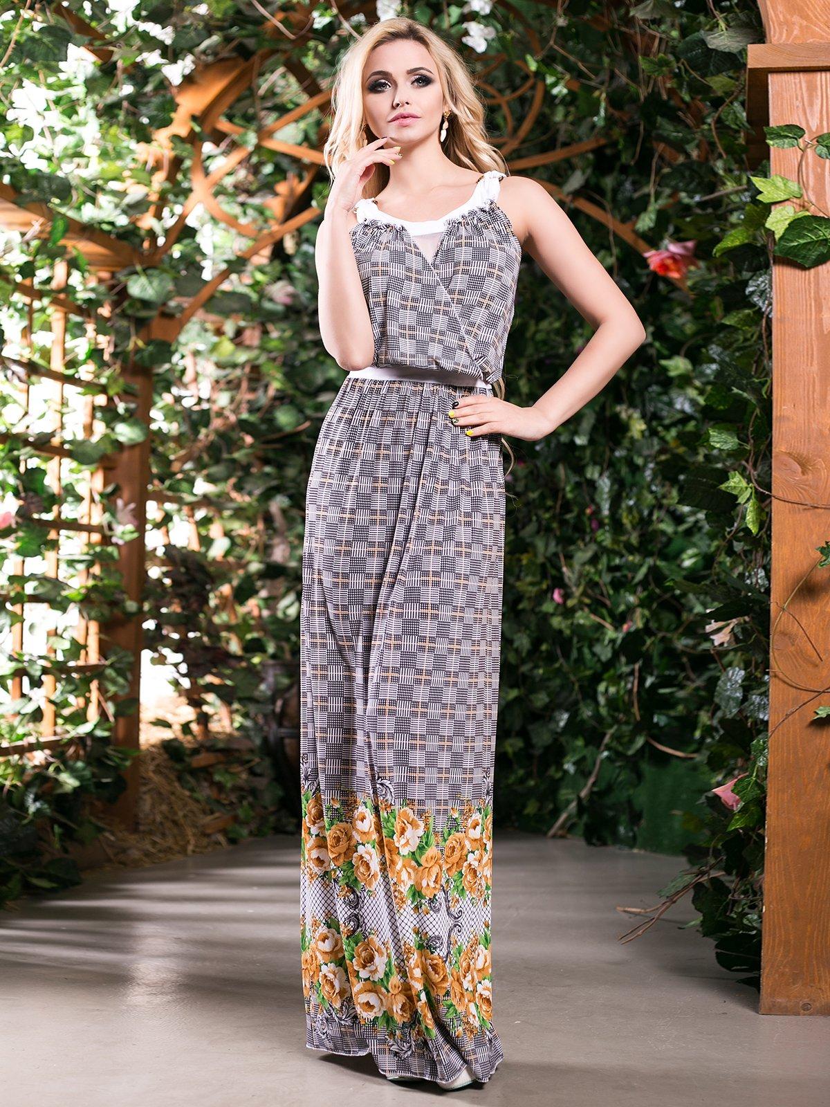 Сукня гірчичного кольору в квітковий принт | 4262969