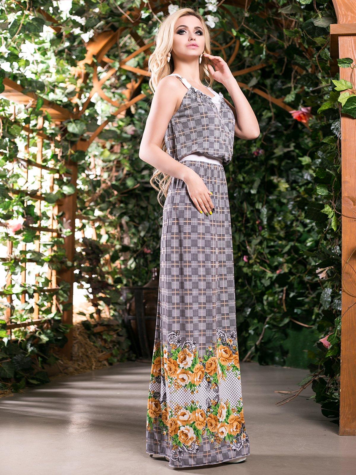 Сукня гірчичного кольору в квітковий принт | 4262969 | фото 2