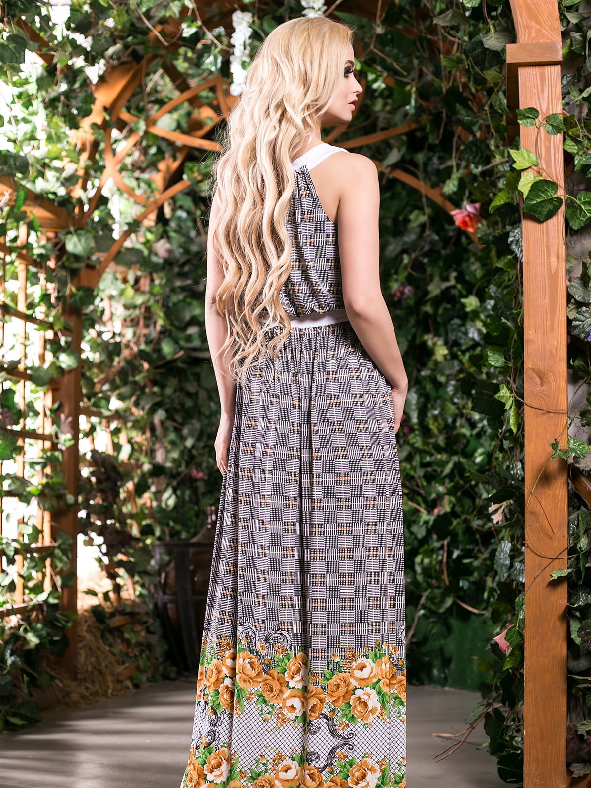 Сукня гірчичного кольору в квітковий принт | 4262969 | фото 3