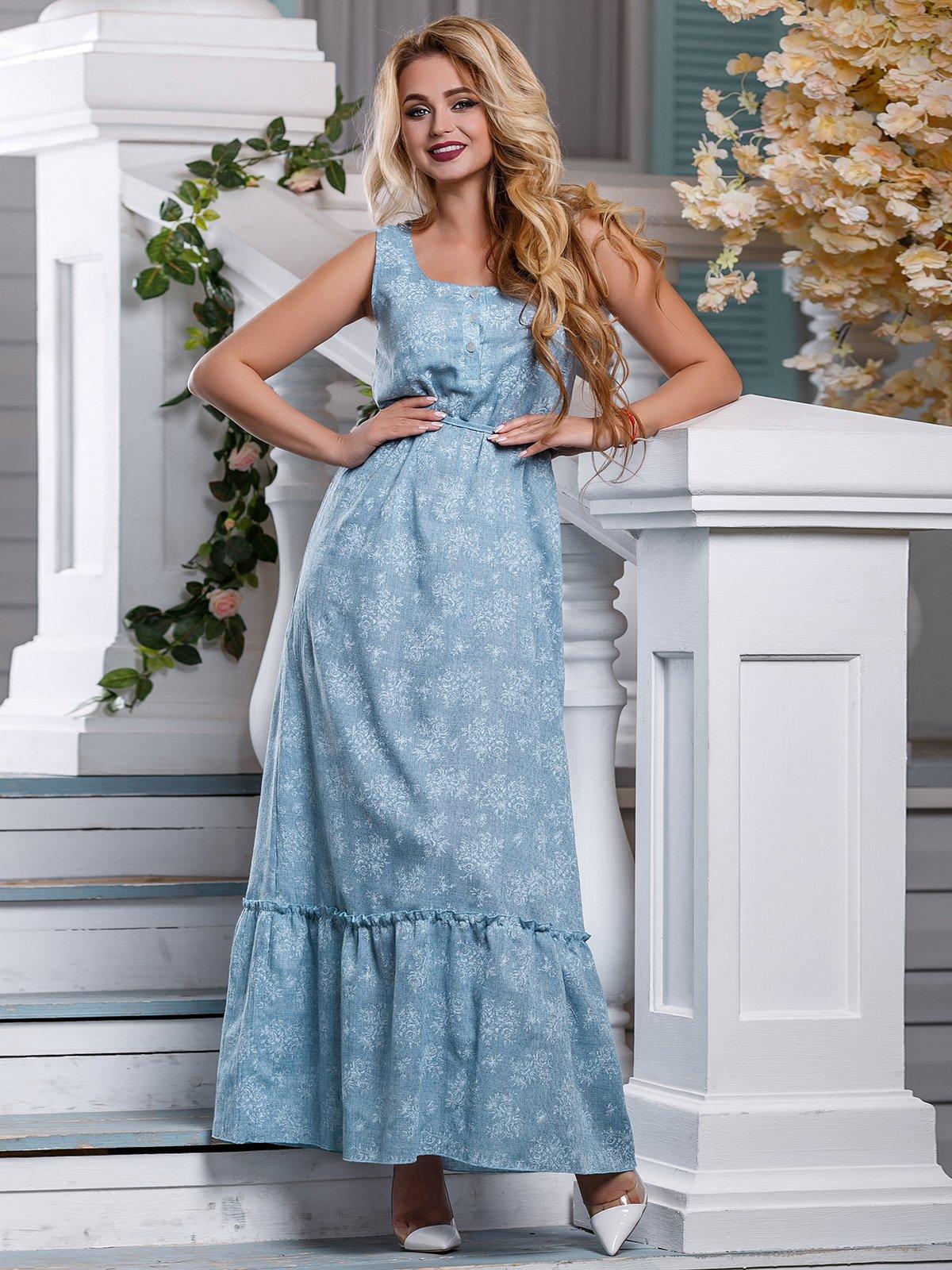 Платье голубое в цветочный принт   4262974