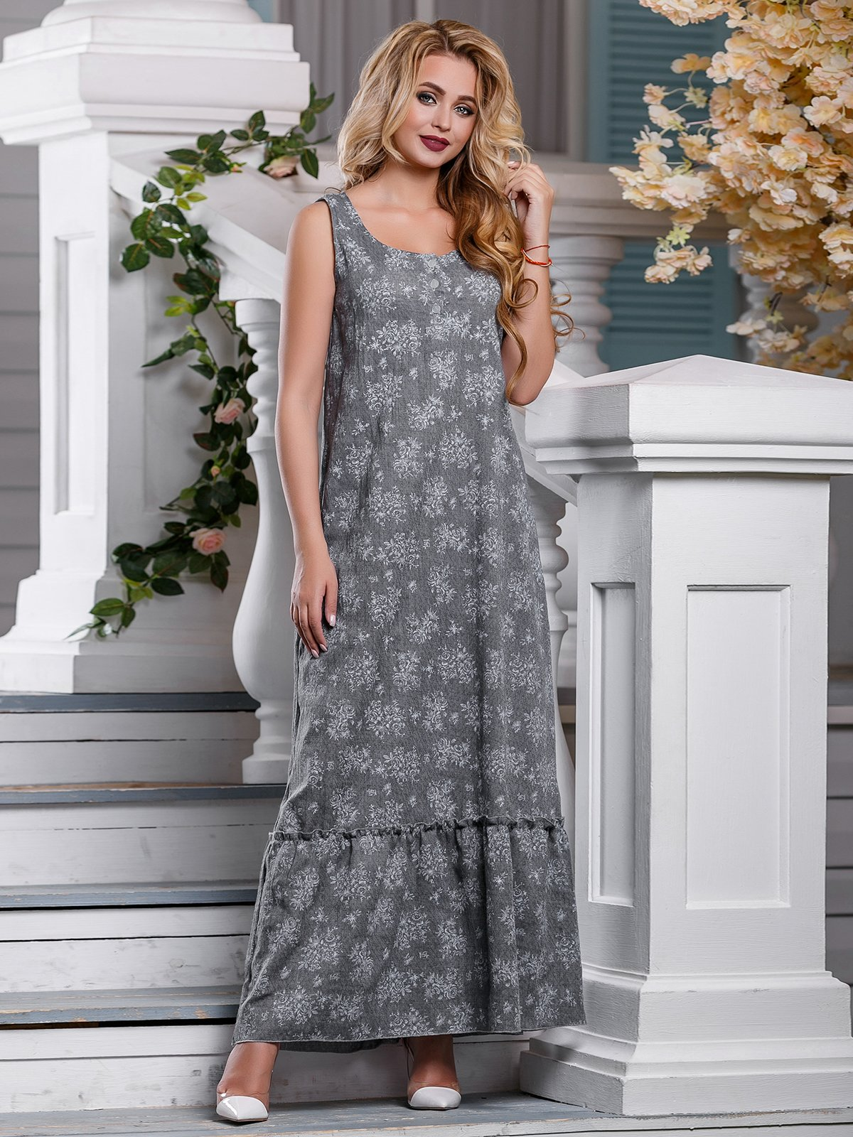 Платье серое в цветочный принт | 4262975