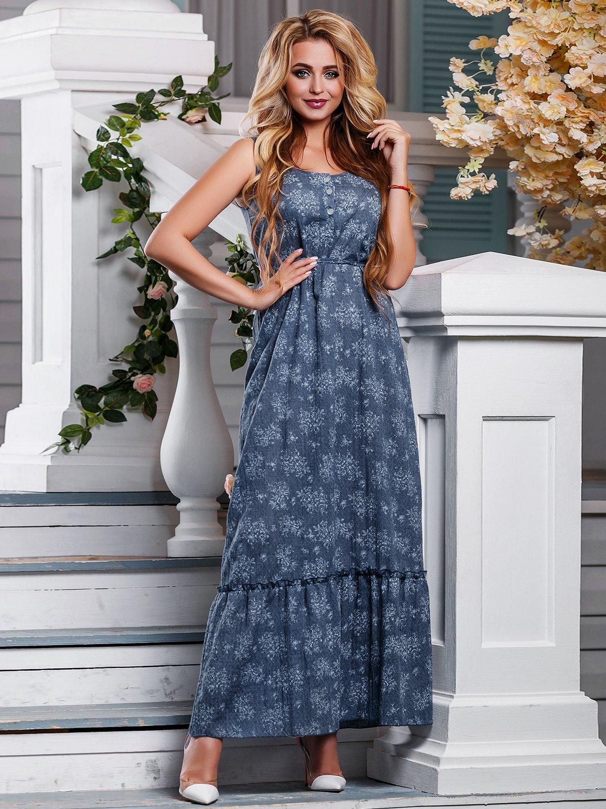 Платье синее в цветочный принт   4262976