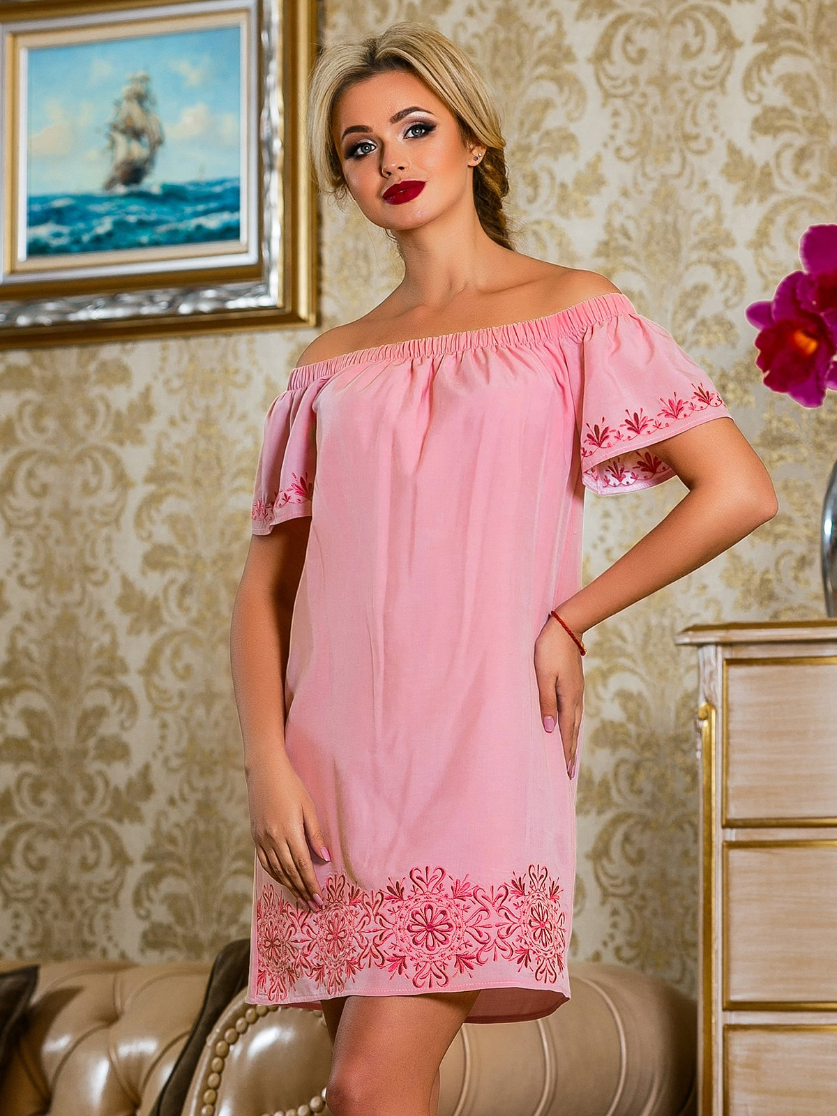 Сукня рожева з квітковим принтом | 4263038 | фото 2