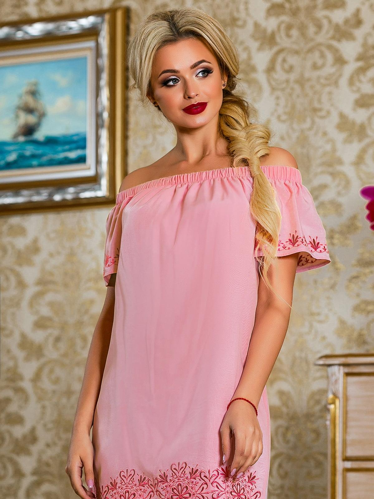 Сукня рожева з квітковим принтом | 4263038 | фото 5