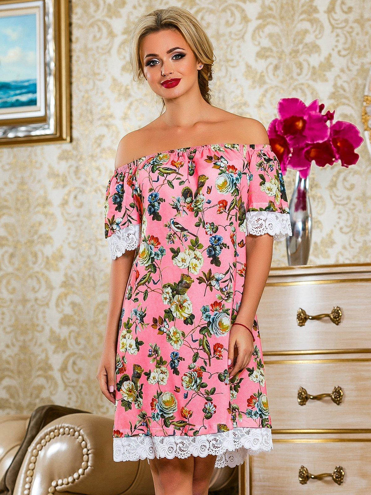 Сукня рожева у квітковий принт | 4263042