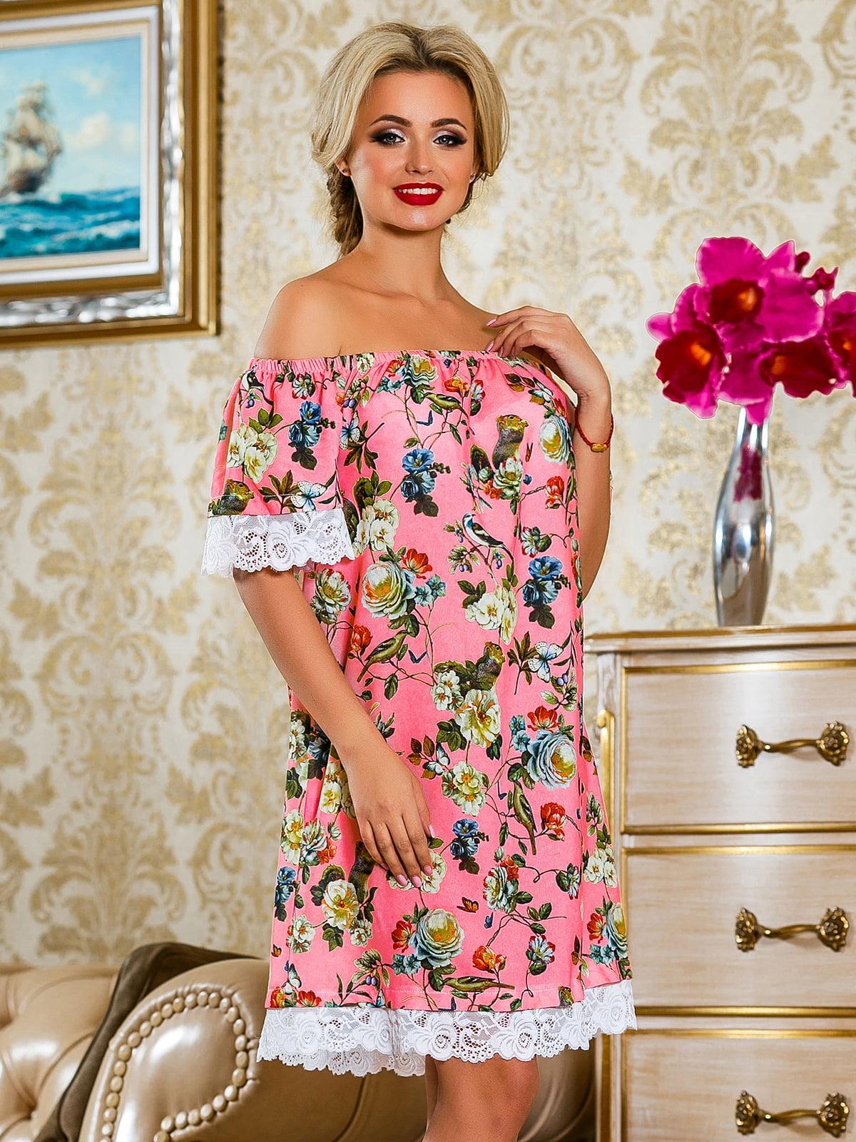 Сукня рожева у квітковий принт | 4263042 | фото 3