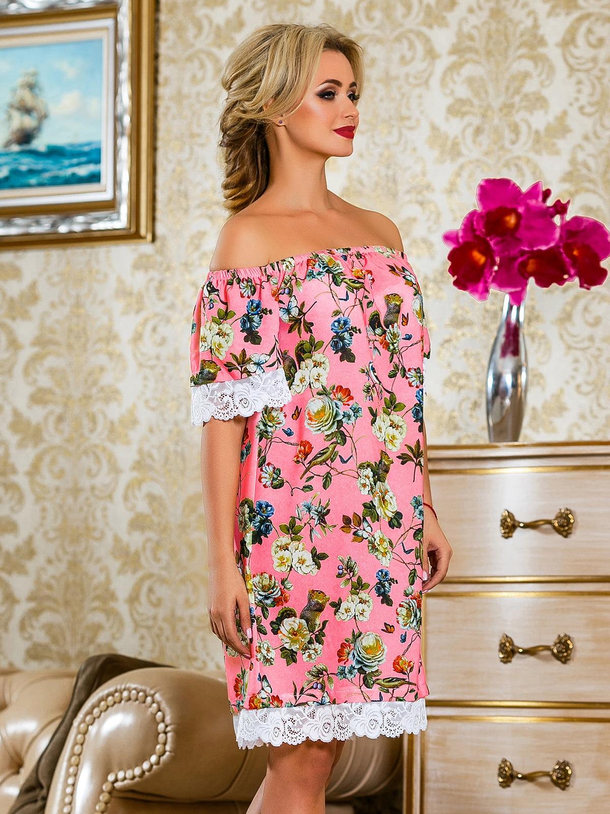 Сукня рожева у квітковий принт | 4263042 | фото 4