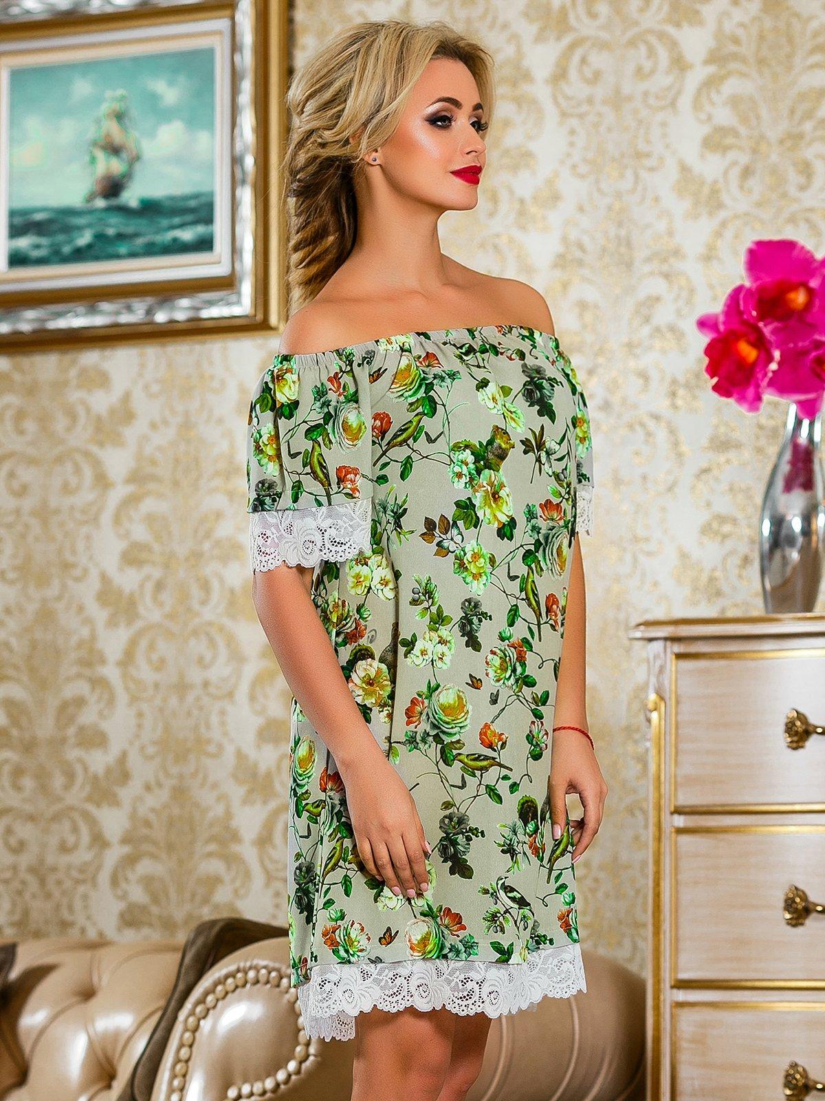 Платье серое в цветочный принт   4263043