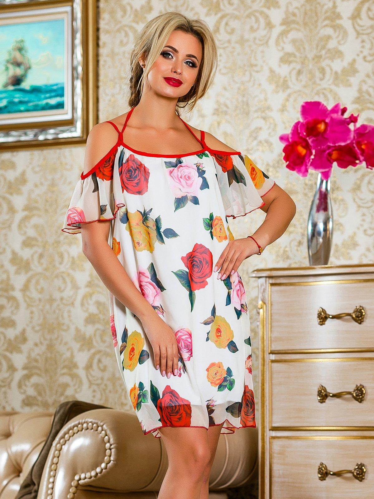 Платье красное в цветочный принт | 4263050