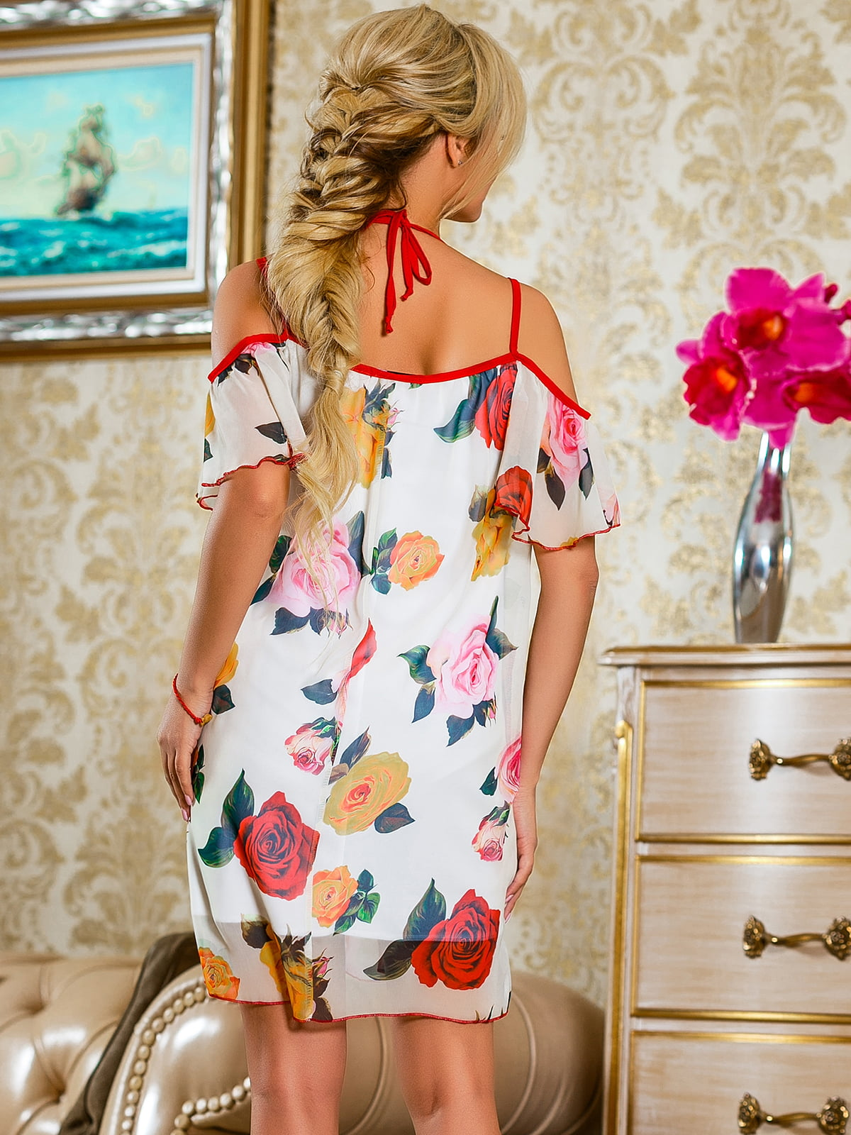 Сукня червона у квітковий принт | 4263050 | фото 4