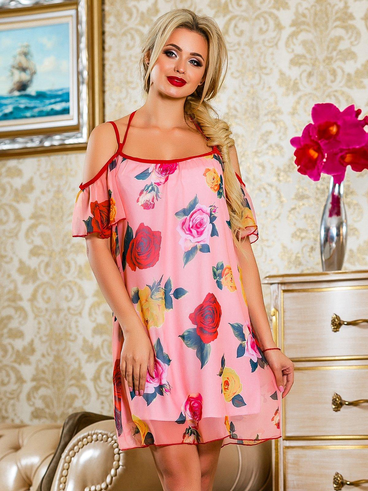 Платье розовое в цветочный принт | 4263052