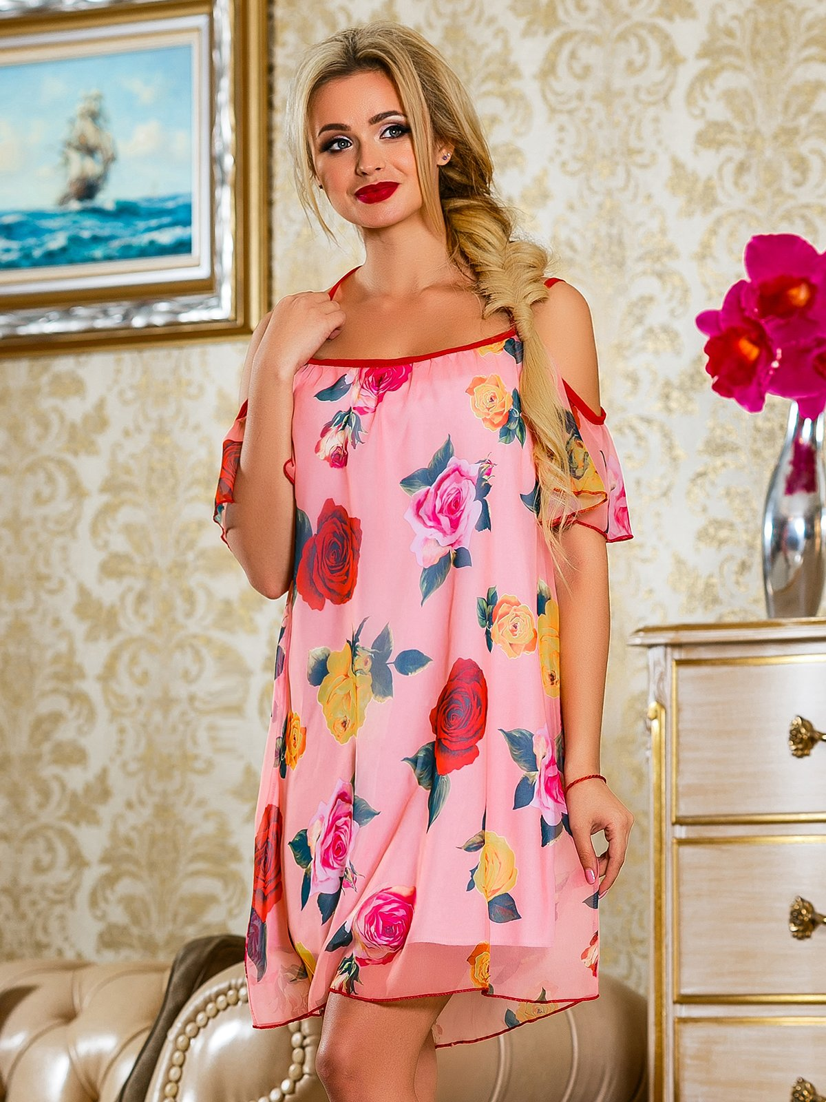 Сукня рожева у квітковий принт | 4263052 | фото 2