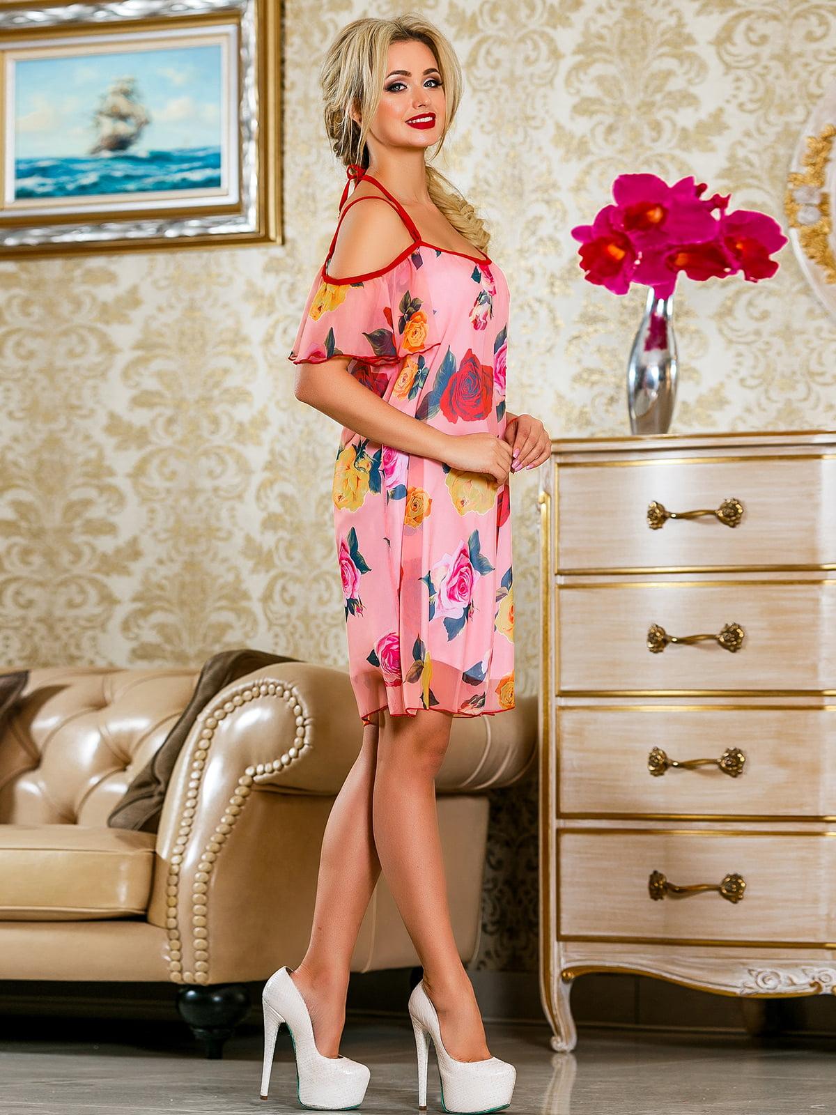 Сукня рожева у квітковий принт | 4263052 | фото 3
