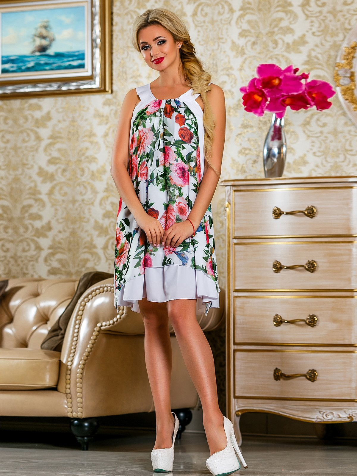 Платье белое в цветочный принт   4263053