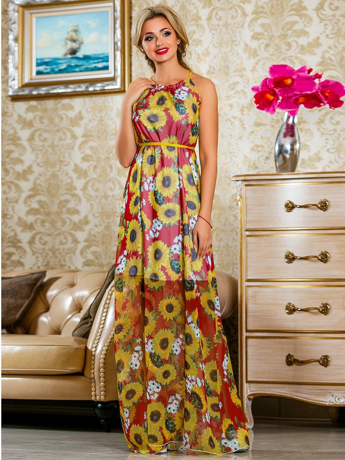 Платье красное в цветочный принт   4263057