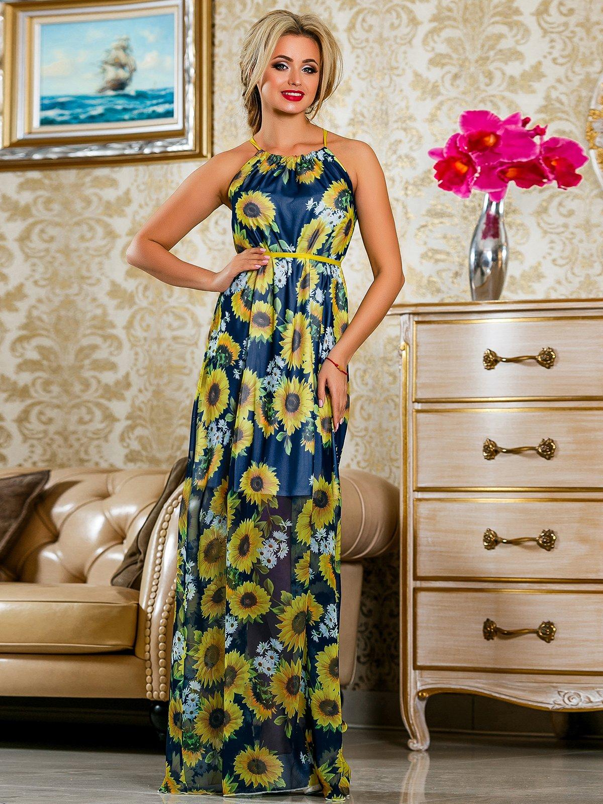 Сукня синя в квітковий принт | 4263058