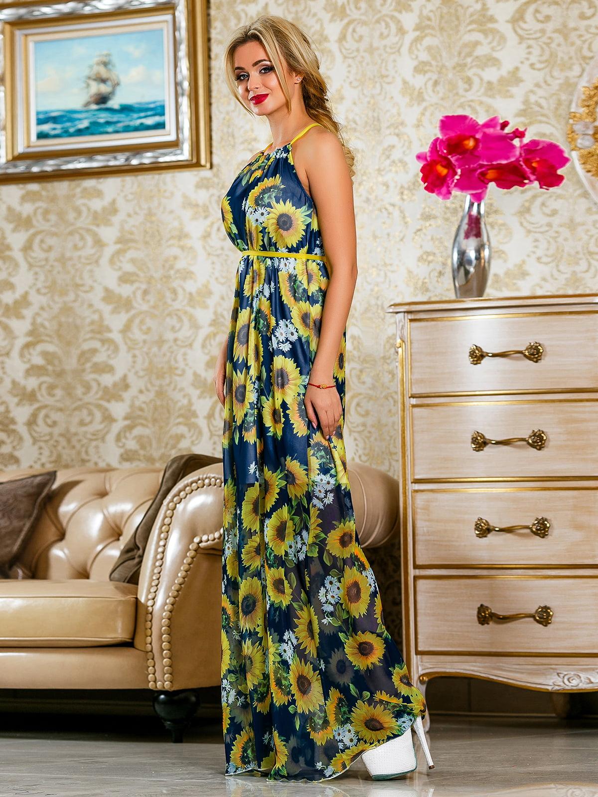 Сукня синя в квітковий принт | 4263058 | фото 4