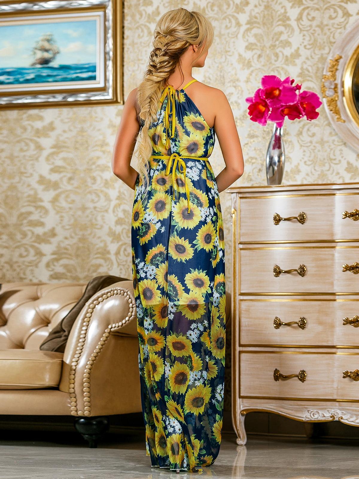 Сукня синя в квітковий принт | 4263058 | фото 5