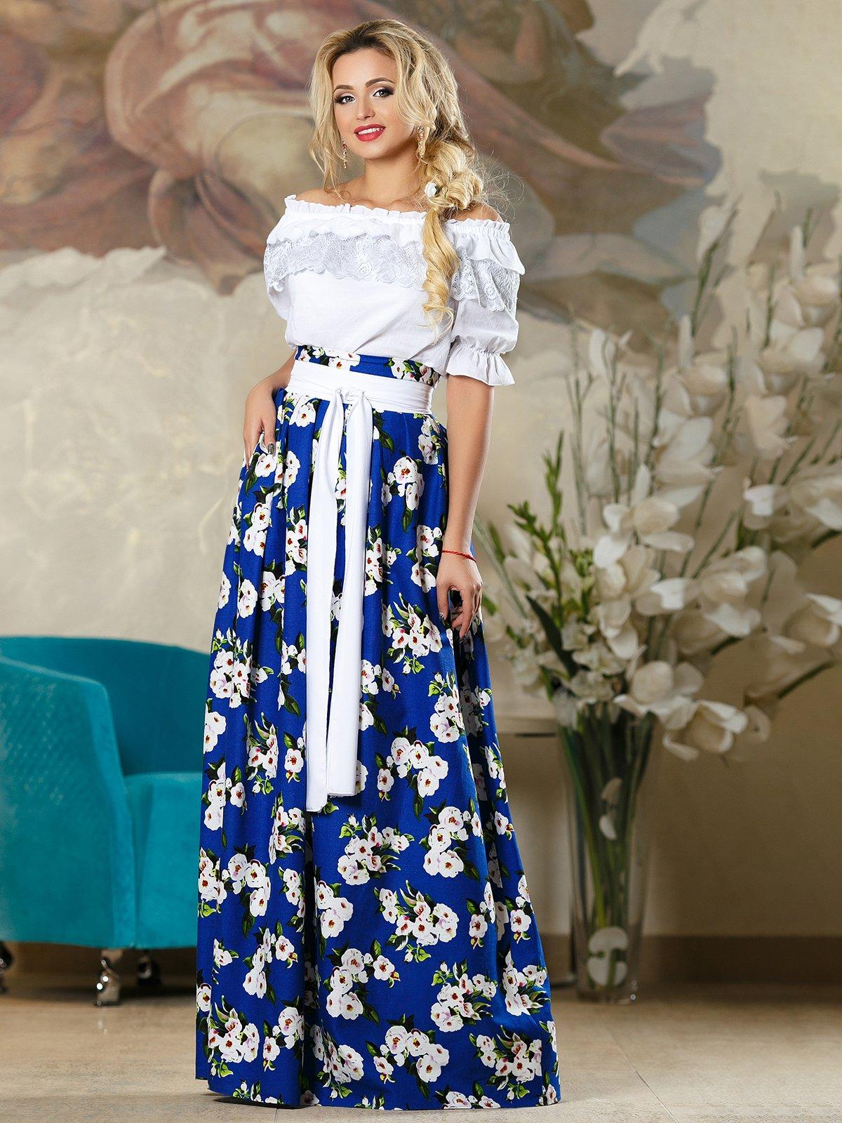 Спідниця синя в квітковий принт   4263081