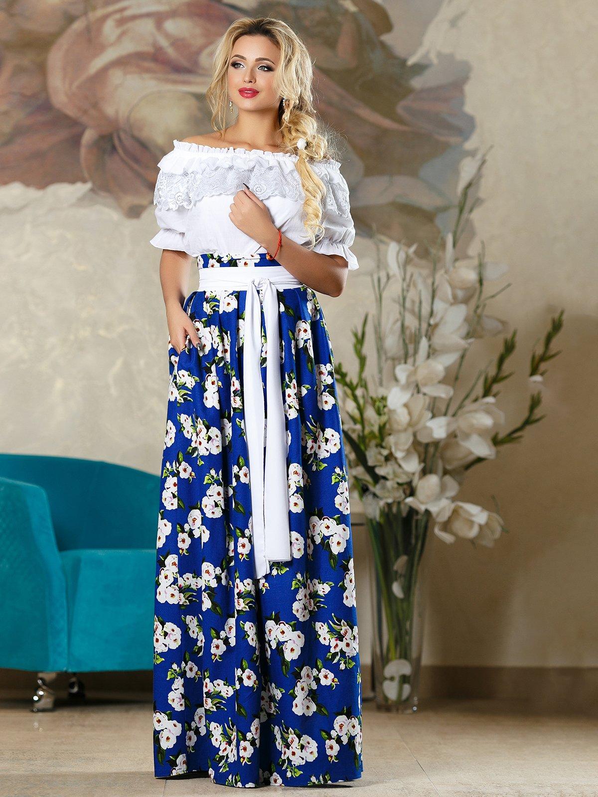 Спідниця синя в квітковий принт   4263081   фото 2