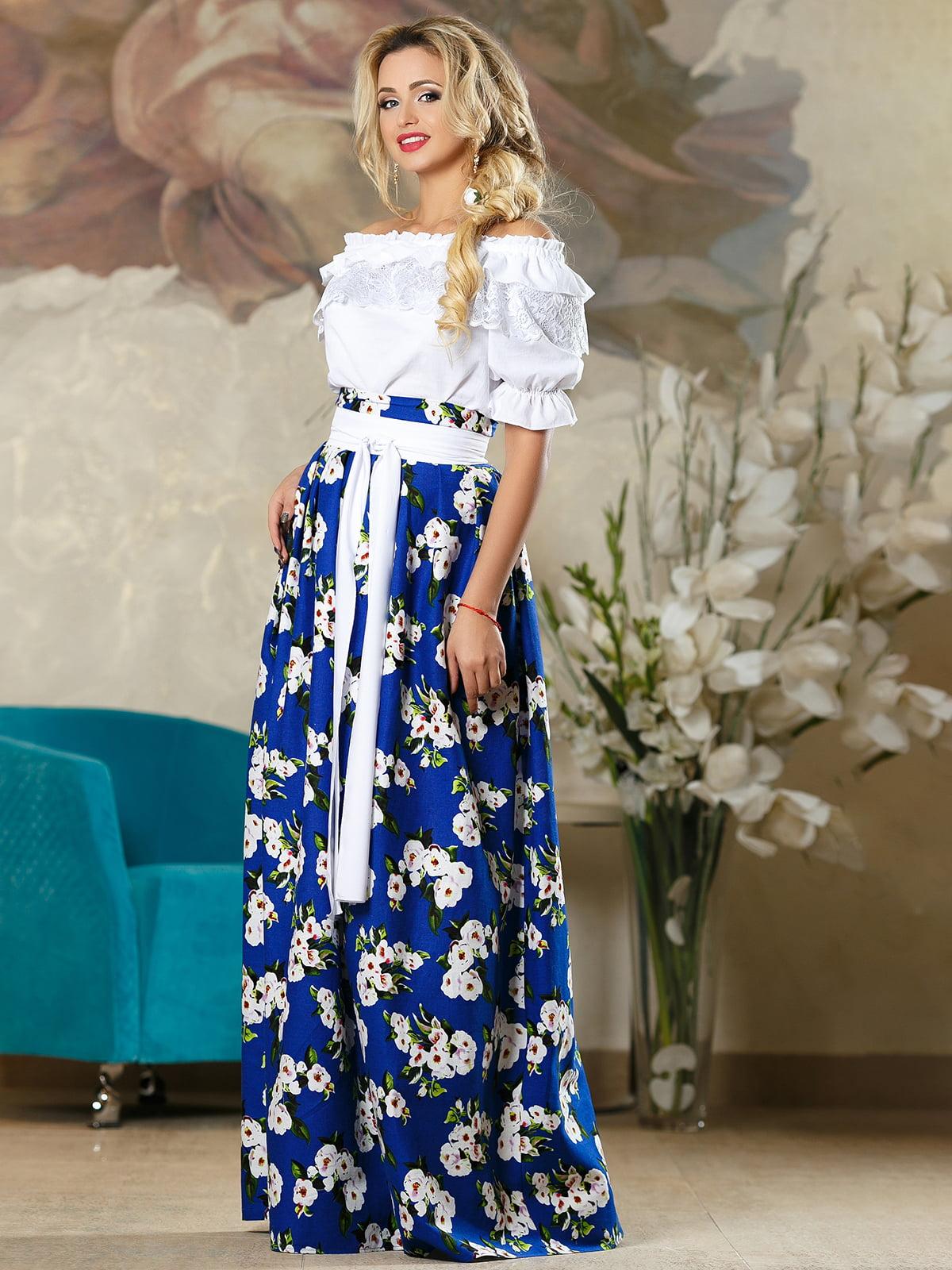 Спідниця синя в квітковий принт   4263081   фото 3