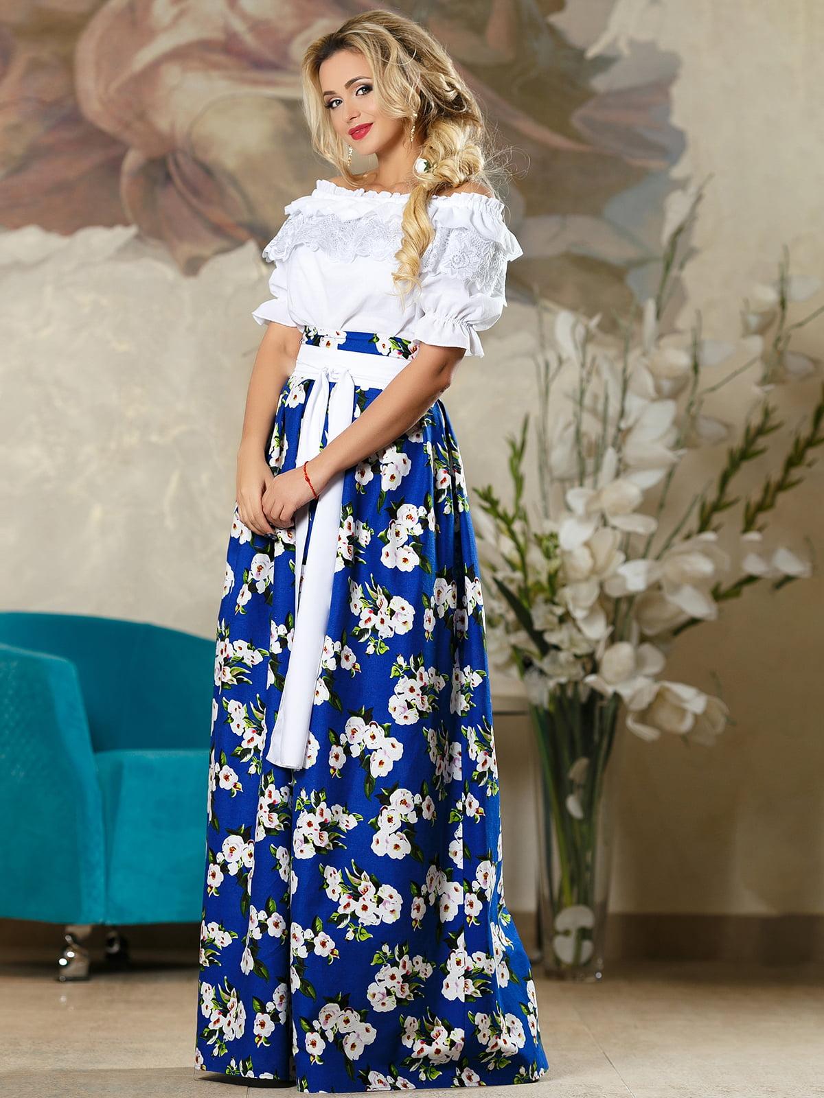 Спідниця синя в квітковий принт   4263081   фото 4