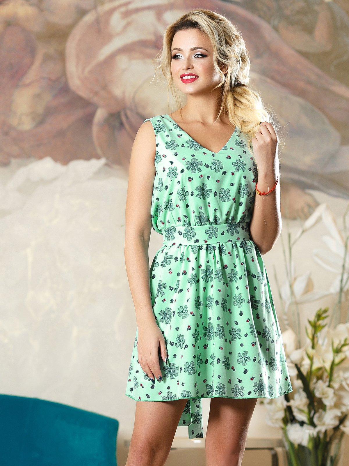 Платье зеленое в принт | 4263098