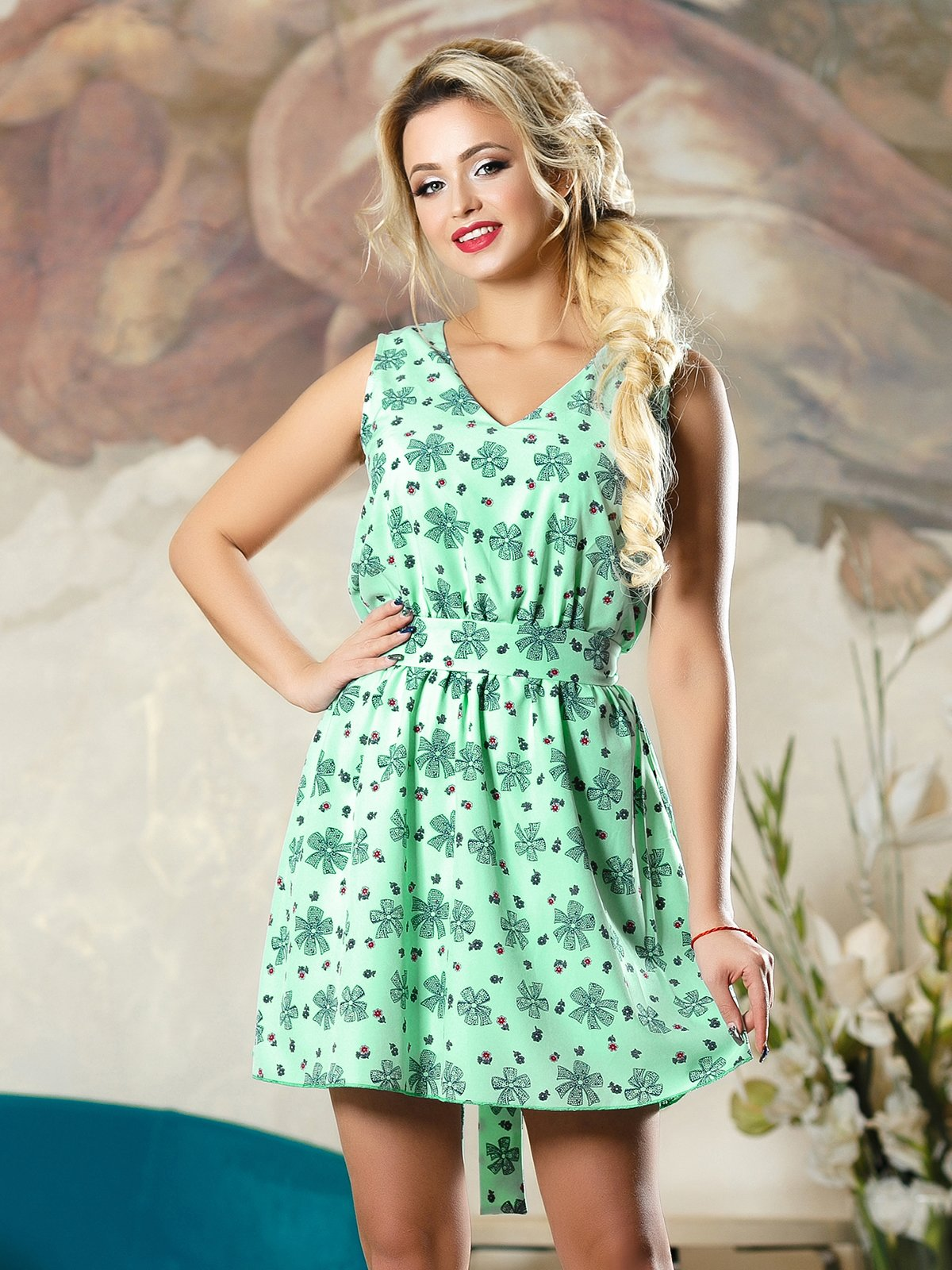Сукня зелена в принт | 4263098 | фото 2