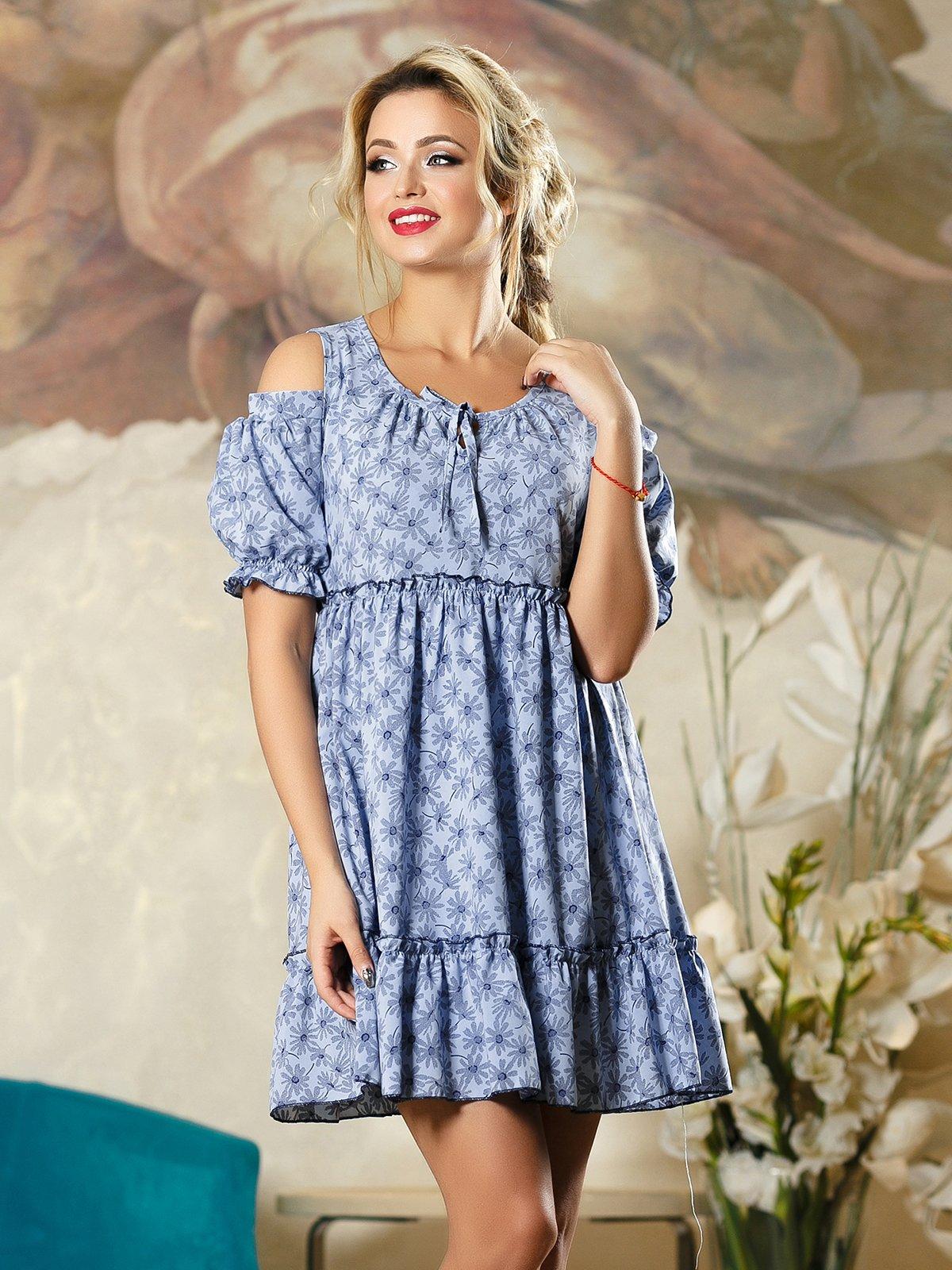 Платье синее в цветочный принт   4263104