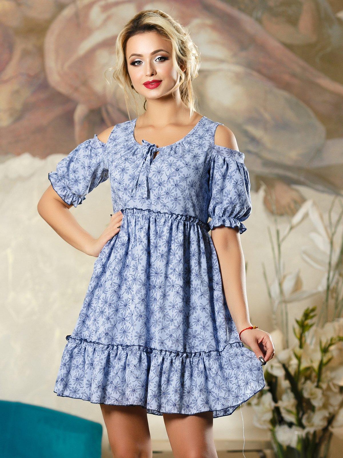 Сукня синя в квітковий принт | 4263104 | фото 2